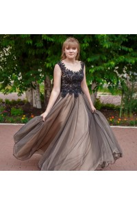 Romantic A Line Prom Evening Dress Scoop Cap Sleeve Open Back Champagne Tulle Black Lace
