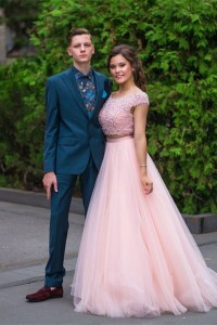 Romantic Two Pieces Prom Party Dress Scoop Cap Sleeve Beading Pink Tulle