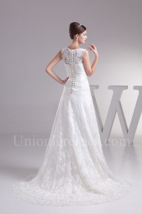 Modest A Line Boat Neckline Corset Beaded Lace Wedding Dress Bridal Gown