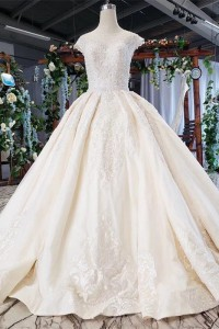 Modest Ball Gown Champagne Wedding Dress Scoop Cap Sleeves With Beading
