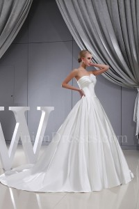 Simple Ball Gown Sweetheart Corset Wedding Dress Bridal Gown With Flower