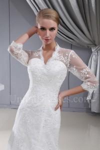 Modest Mermaid V Neck Corset 3 4 Sleeve Beaded Lace Wedding Dress Bridal Gown