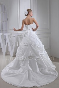Simple Ball Gown Strapless Pick Up Taffeta Wedding Dress Bridal Gown