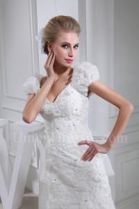 Modest Mermaid V Neck Cap Sleeve Crystal Beaded Appliques White Organza Wedding Dress