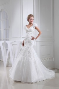 Modest Mermaid V Neck Cap Sleeve Crystal Beaded Appliques White Organza Wedding Dress$