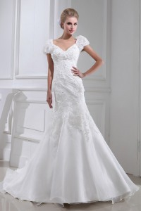 Modest Mermaid V Neck Cap Sleeve Crystal Beaded Appliques White Organza Wedding Dress