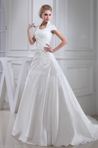 Modest A Line Cap Sleeve Beaded Appliques Ruched Taffeta Wedding Dress Bridal Gown