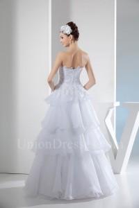 A Line Strapless Tiered White Organza Ruffle Wedding Dress No Train