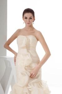 Beautiful Mermaid Strapless Ruffled Champagne Organza Wedding Dress Without Train