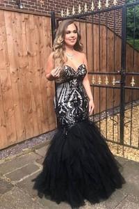 Beautiful Mermaid Prom Party Dress Sweetheart Black Tulle Ruffles