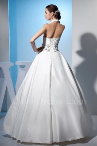 Beautiful Ball Gown Halter Crystal Beaded White Taffeta Wedding Dress Corset Back Without Train