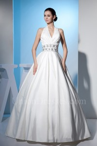 Beautiful Ball Gown Halter Crystal Beaded White Taffeta Wedding Dress Corset Back Without Lace