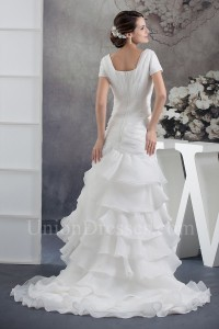 Modest Mermaid Square Neckline Short Sleeve Layered Organza Wedding Dress Bridal Gown