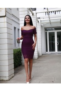 Slim Mini Little Purple Prom Cocktail Dress Off The Shoulder Short Lace Sleeves
