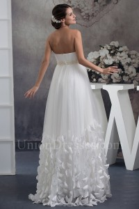 Fairy Strapless Ivory Tulle Empire Wedding Dress With Petals Peals No Train