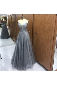 Sparkly Bead A Line Prom Evening Dress V Neck Spaghetti Straps Grey Tulle Lace