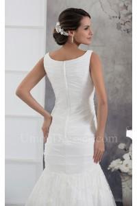 Modest Mermaid V Neck Beaded Lace Chiffon Wedding Dress Bridal Gown