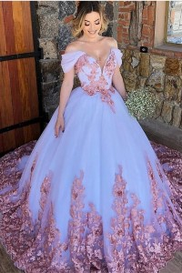 Princess Ball Gown Quinceanera Dress Off The Shoulder White Tulle With Pink Appliques