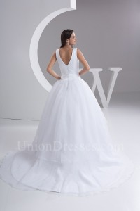 Simple Ball Gown V Neck White Spot Tulle Wedding Dress Bridal Gown