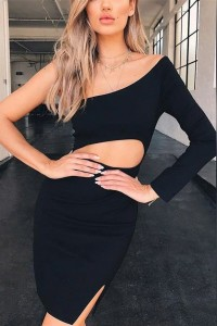Sexy Short Mini Little Black Prom Party Dress One Shoulder With Cutouts