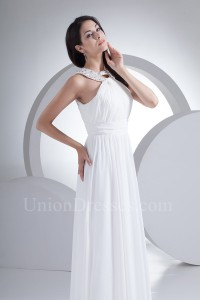 Stunning A Line High Neck Crystal Beaded White Chiffon Destination Wedding Dress