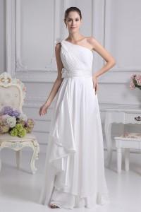 Asymmetrical One Shoulder Chiffon Beach Destination Wedding Dress Without Train Lace