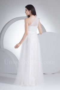 Simple A Line One Shoulder Tulle Bow Country Destination Wedding Dress Without Train