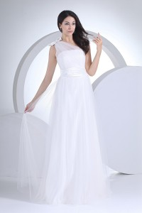 Simple A Line One Shoulder Tulle Bow Country Destination Wedding Dress Without Lace