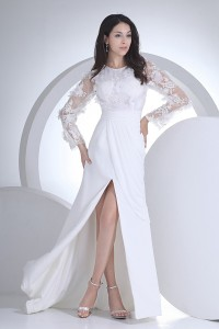 Modest Sheath Scoop Long Sleeve Crystal Lace With Slit Ruched Chiffon Beach Destination Wedding Dress