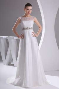 Modest A Line Bateau Cap Sleeve Crystal Beaded Tulle Wedding Dress Bridal Gown