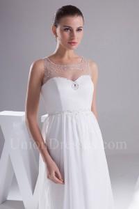 Beautiful A Line Illusion Neckline Beaded White Chiffon Wedding Dress No Train Lace