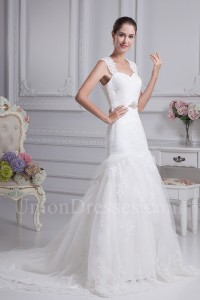 Modest Mermaid Sweetheart Cap Sleeve Corset Crystal Beaded Tulle Wedding Dress