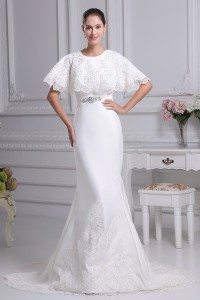 Modest Mermaid High Neck Cap Sleeve Crystal Beaded Wedding Dress With Appliques