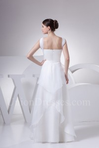 A Line sheer Straps Layered Organza Wedding Dress With Brooch No Train