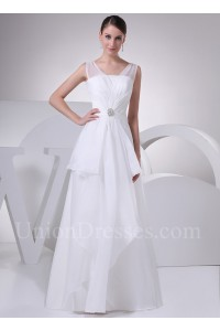 A Line sheer Straps Layered Organza Wedding Dress With Brooch No lace