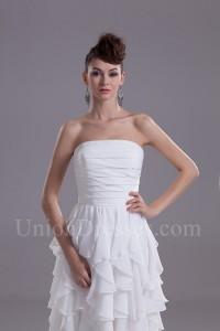 Chic Strapless Ruffled White Chiffon Wedding Dress Without Train