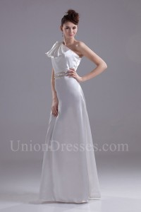 One Shoulder Wedding Dress Bridal Gown With Crystal Beaded Belt No Lace