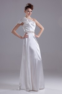 One Shoulder Wedding Dress Bridal Gown With Crystal Beaded Belt No Train