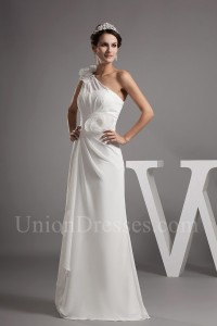 Asymmetrical One Shoulder Pleated Chiffon Wedding Dress With Flower No Train