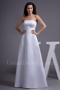 Modest Simple A Line Satin Wedding Dress Bridal Gown
