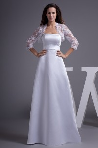 Modest A Line Satin Wedding Dress Bridal Gown With 3 4 Sleeve Lace Bolero Jacket