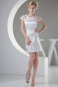 Modest Short Mini Sheath Scoop Lace Cap Sleeve Wedding Dress