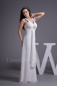 Charming A Line V Neck Ruched Chiffon Empire Wedding Dress With Brooch