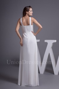 Charming A Line V Neck Ruched Chiffon Empire Wedding Dress With Brooch No Train