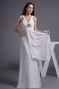 Charming A Line V Neck Ruched Chiffon Empire Wedding Dress With Brooch No Lace