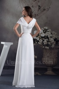 Modest Simple Ruched White Chiffon Wedding Dress With Shawl No Train