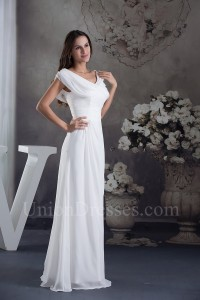 Modest Simple Ruched White Chiffon Wedding Dress With Shawl No lace