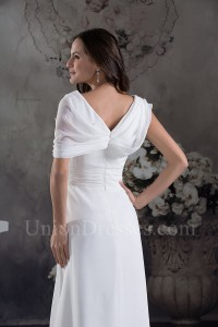 Modest Simple Ruched White Chiffon Wedding Dress With Shawl