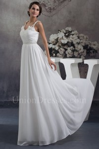 Boho A Line Sweetheart With Straps Beaded Chiffon Beach Wedding Dress Bridal Gown