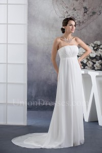 Simple Empire Strapless Ruched Chiffon Wedding Dress No Lace